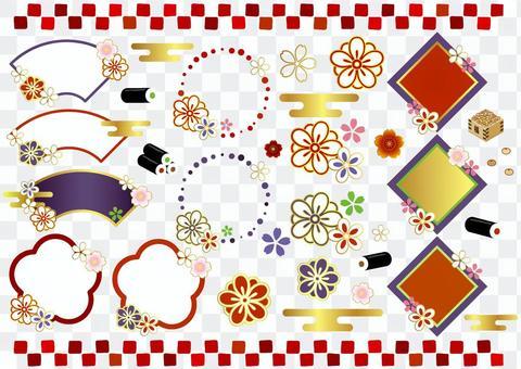 Japanese style frame icon set