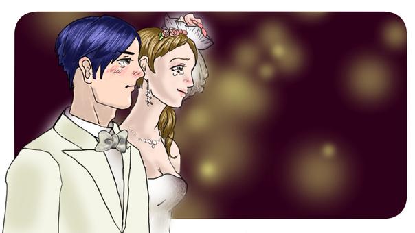 淚流滿面的新郎新娘