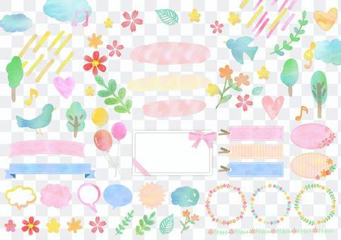 Season material 078 Spring watercolor frame