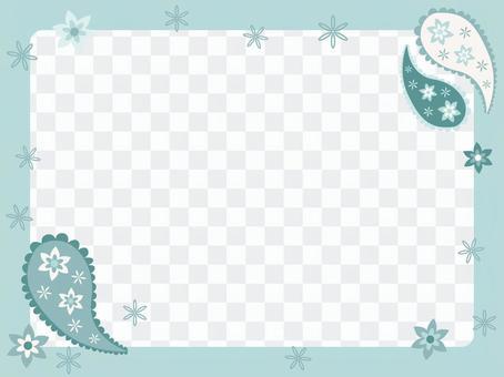 フレーム/ペイズリー柄ブルー