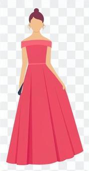 桃紅色禮服的婦女
