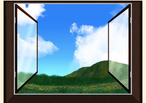 雙層玻璃窗花田林山