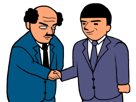 Office worker shaking hands