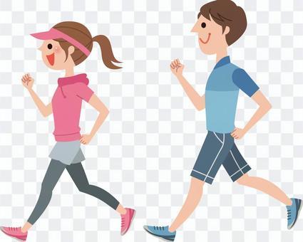 兩個人慢跑