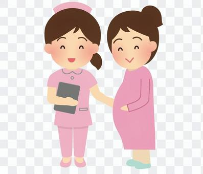 Illustration of a nurse and a pregnant woman