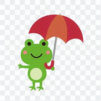 赤い傘を持つ蛙