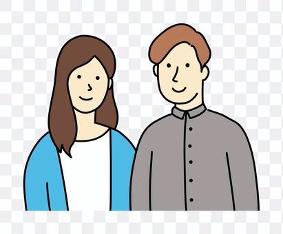一對微笑的年輕夫婦的手寫的彩色插圖