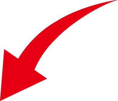 箭頭向下曲線紅色
