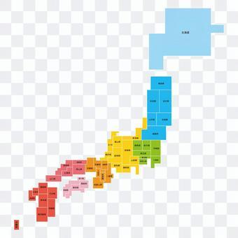 日本地圖簡化塊圖