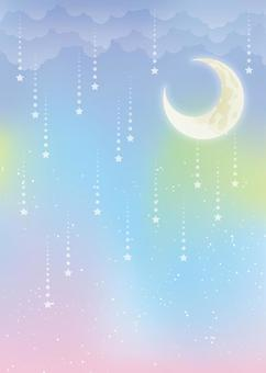 童話夜晚的天空背景,A4肖像,與填充的腳