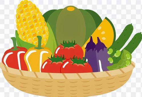 夏季蔬菜在籃子裡