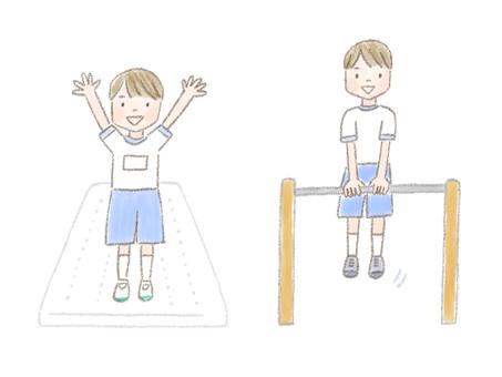 小學生在做墊子運動,單槓和體育鍛煉