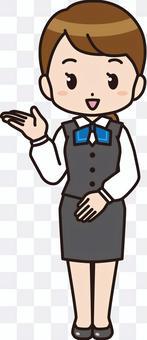 指導的女職工(全身製服)