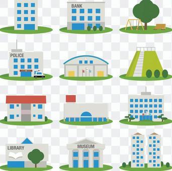 住宅,警察局,公共設施等的圖標集