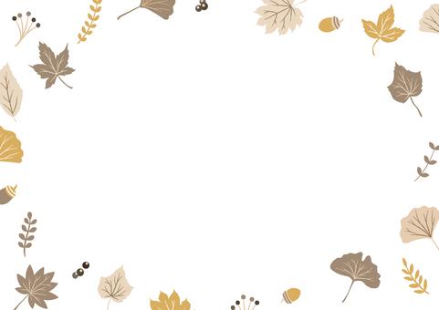 秋季落葉自然裝飾框