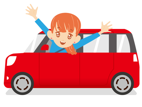 紅色汽車和乘客座位的女孩