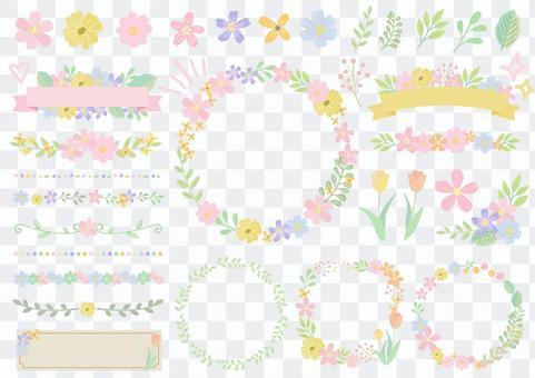套裝材料066春夏淡花框