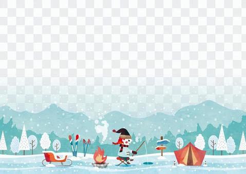 Winter background frame 088 fishing can watercolor