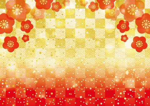 Plum blossom and checkered _ Japanese style background 02