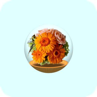 玻璃容器(黃色和粉紅色的花朵)