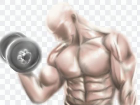 刻苦訓練和肌肉發達的男人