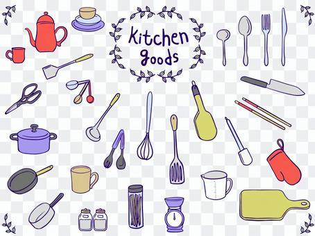 廚房用品手繪插圖