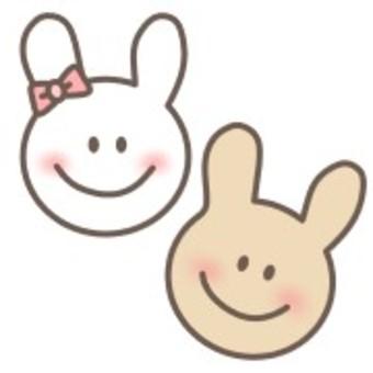 ウサギ 白 茶色 リボン 笑顔