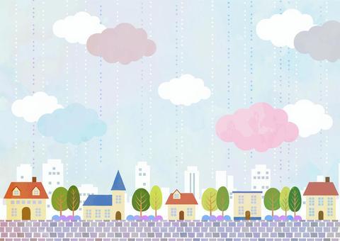 水彩風格的雨城水平
