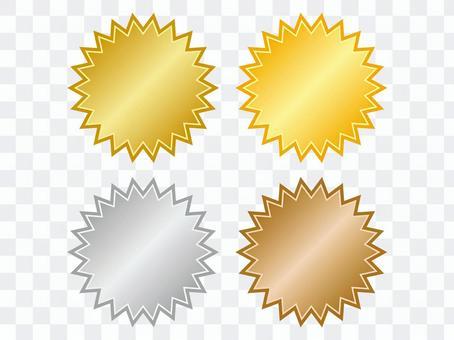 金色,銀色和銅質鋸齒狀框架