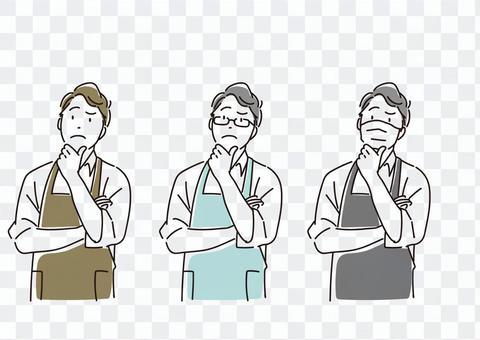 擔心圍裙的男性插圖