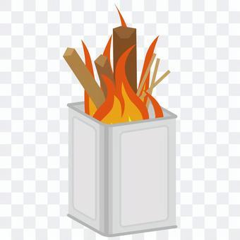 焚き火 一斗缶