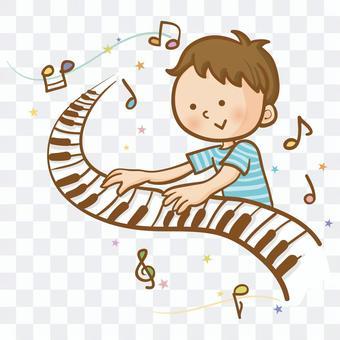 一個男孩彈鍵盤