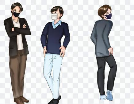 春季男裝的3種類型(戴口罩)