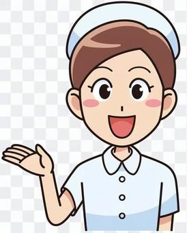 Guide smiling female nurse
