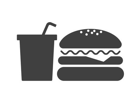 漢堡包和飲料剪影