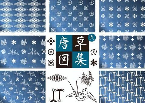 당초 무늬 02- 파랑