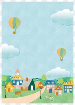Cityscape landscape summer background frame illustration vertical