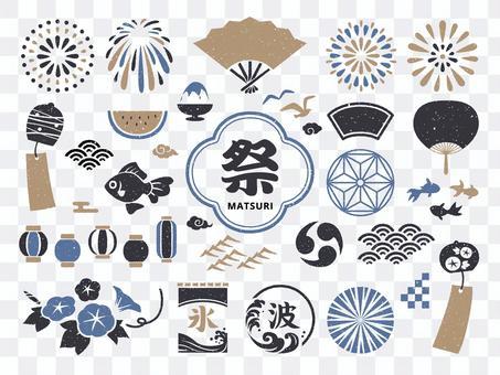 夏日日式複古插畫及裝飾套裝
