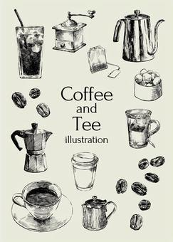 咖啡和茶的插圖