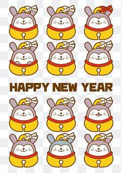 新年賀卡 - 兔子4c