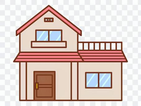 Pink roof house