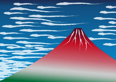 1背景(浮世繪風格,紅色富士,飄動的雲朵)