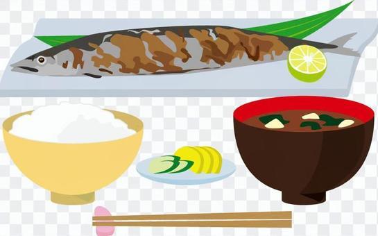 Set meal of autumn sweetfish