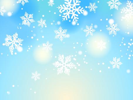 雪和雪花淺藍色背景