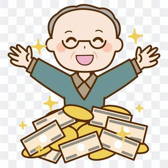 An elderly man who is happy with a lot of money