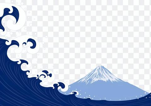 日本のイメージ 富士山と波 和風フレーム