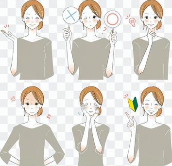 成年女性面部表情各種設置3
