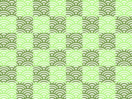 【日紋】棋盤格x青海波:綠色