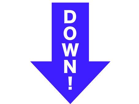 藍色箭頭向下!箭頭圖標