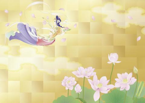 Renka _ Buddhist _ gold leaf lotus pond _ horizontal size